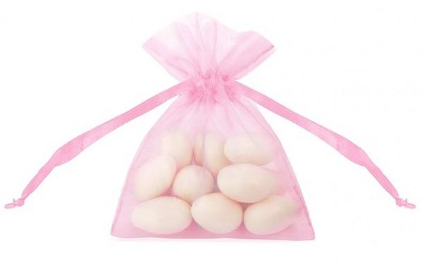20 bolsas de organza Claire rosa 10cm