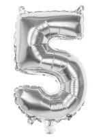 Folienballon Zahl 5 silber metallic 36cm