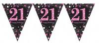 Pink 21st Birthday Wimpelkette 3,96m