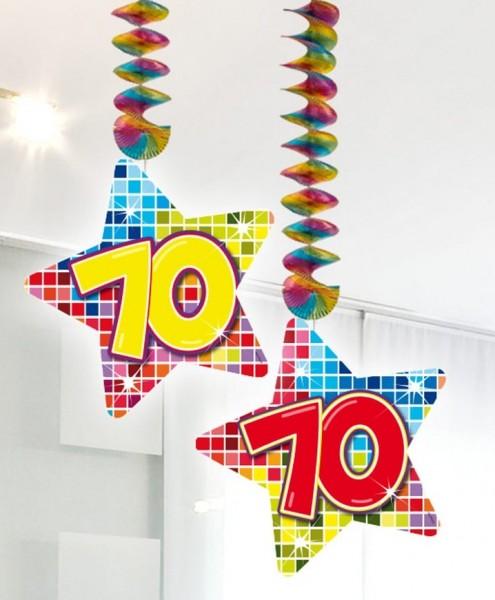 2 Groovy 70th Birthday Spiralhänger 75cm