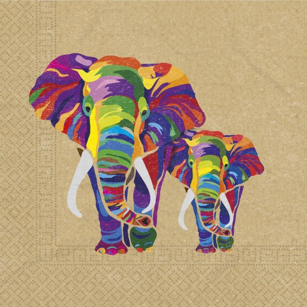 20 Elefanten Parade Servietten 33cm