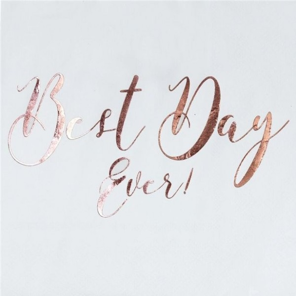 20 Best Day Ever napkins rose gold metallic 33cm