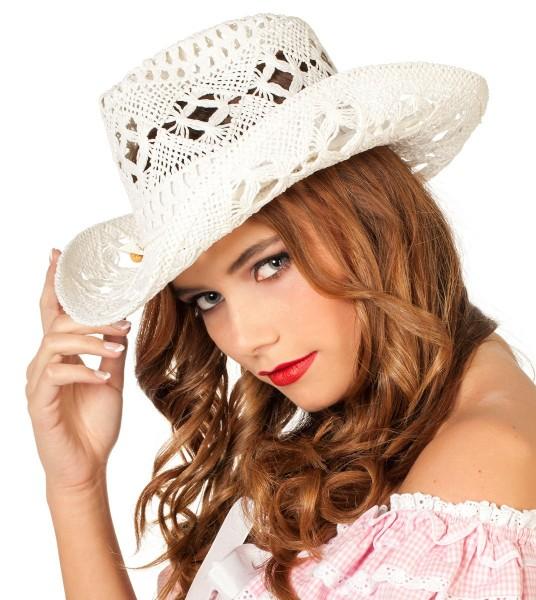 Weißer Spitzen Cowboyhut Für Damen