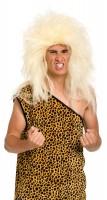 Perruque homme des cavernes sauvage blond