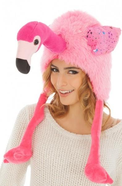 Flauschige Flamingo Mütze