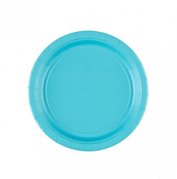8 platos de papel Mila azul celeste 18cm