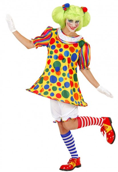 Gepunktet Buntes Clown Damenkostüm