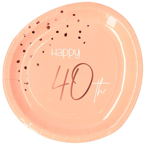 40th birthday 8 paper plates elegant blush rose gold