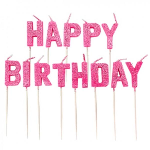 Happy Birthday glitzernde Tortenkerzen pink 13-teilig