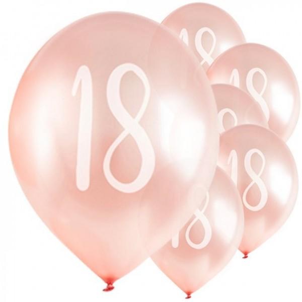 5 ballons 18ème anniversaire lumineux rose 30cm