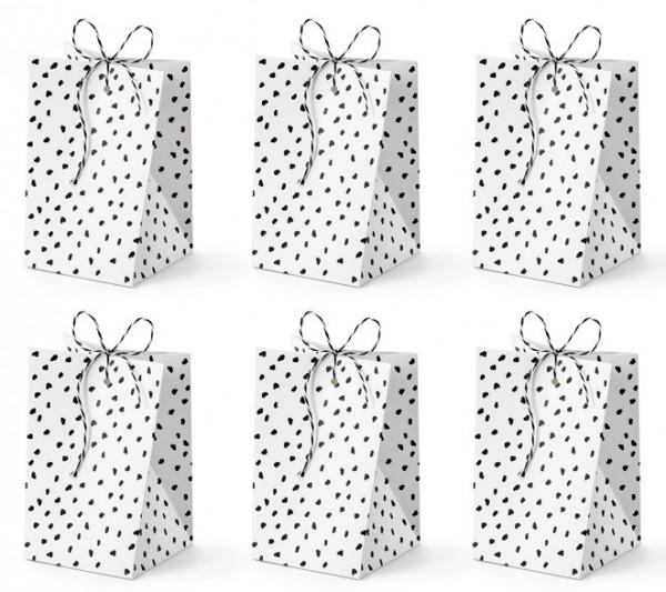 6 sacchettini regalo bianchi con puntini neri