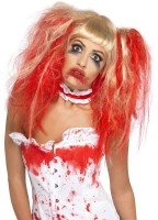 Blonde Horrorperücke Blutiger Zombie