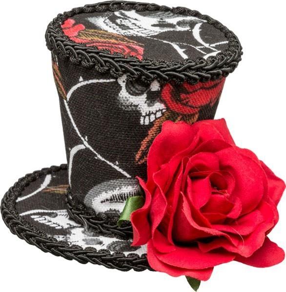 Dia De Los Muertos Mini Top Hat avec Rose