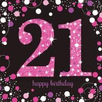 16 Pink 21st Birthday Servietten 33cm