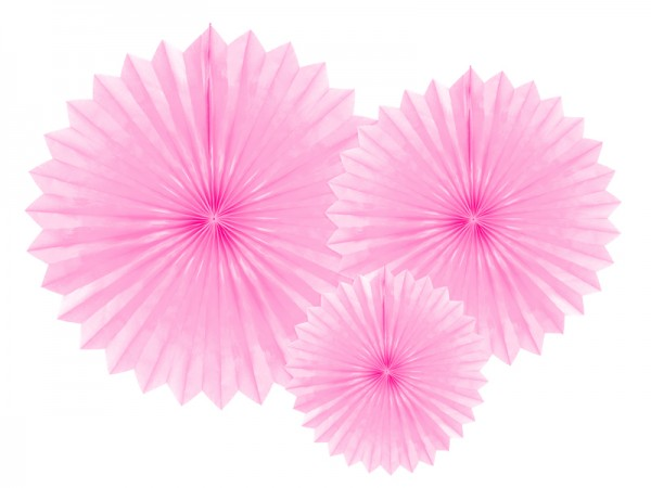 3 paper rosettes party star pink