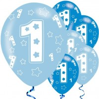 6 First Birthday Boy Luftballons 28cm