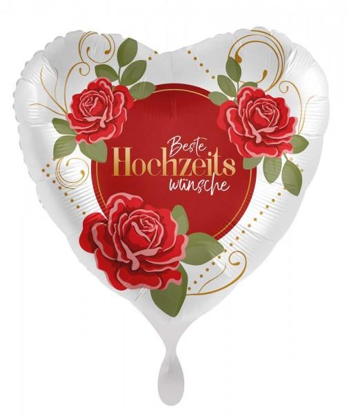 Hochzeitswünsche Herz Folienballon 45cm