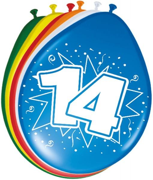 Bunte Latexballons 14. Geburtstag 8 Stk. 1