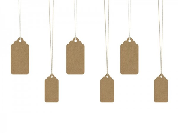 6 cartes cadeaux marron avec ruban