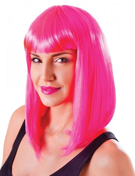 Neon-Pinke Long Bob Perücke