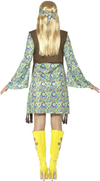 Flower power hippie costume with fringed vest