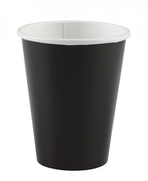 8 Paper Party Cups Black 266ml