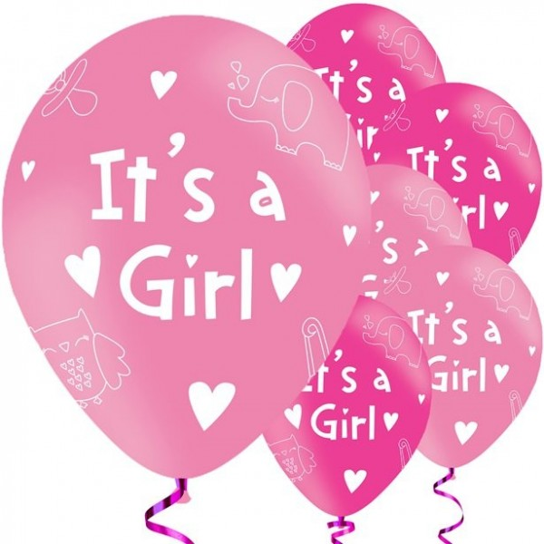 6 Juhu ein Mädchen Luftballons 28cm