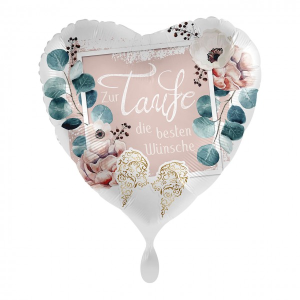 For baptism wishes heart foil balloon 43cm