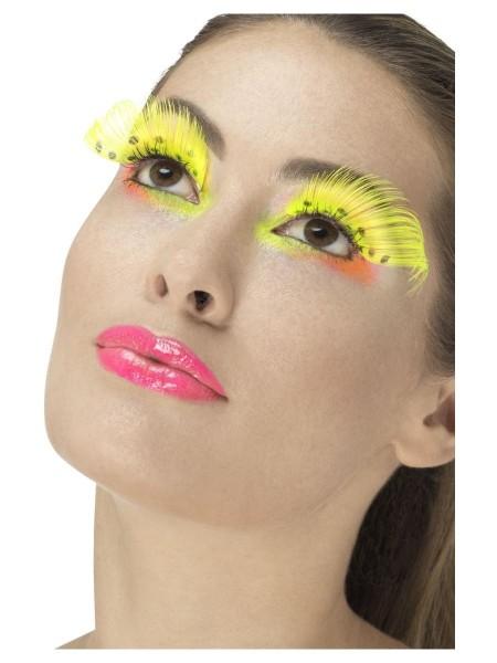 Neon-gelbe Feder Wimpern
