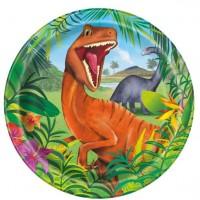 8 Dino Abenteuer Pappteller 23cm