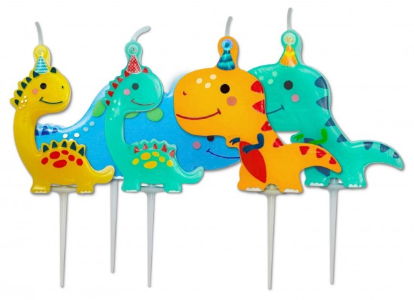 5 Dino children cake candles 7.3cm