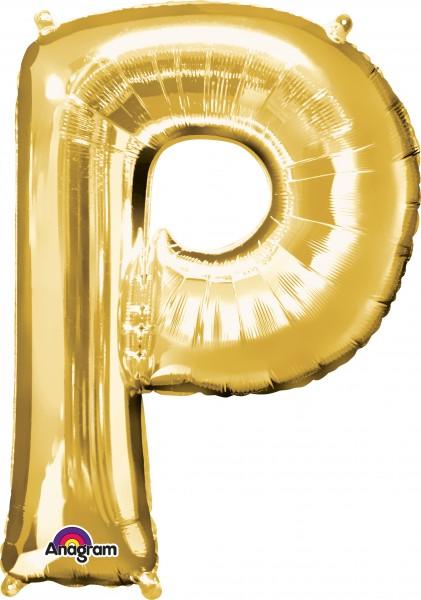 Letter foil balloon P gold 81cm