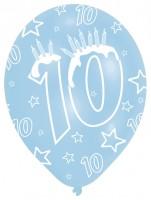 6 bunte Luftballons 10.Geburtstag 27,5cm
