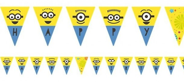 Chaîne de fanion 16 Minions Hourra Party 3.3m