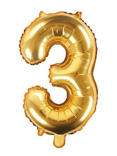 Number 3 foil balloon gold 35cm