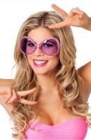 Pinke Disco Brille 70er Jahre Stil