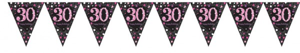 Pink 30th Birthday pennant chain 4m