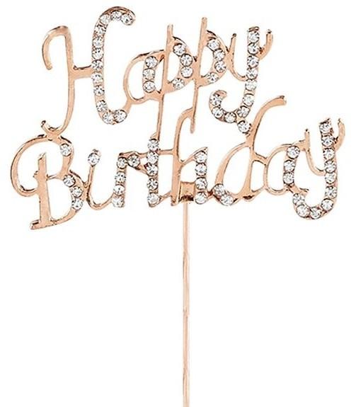 Decoración de pastel de cumpleaños de diamantes de oro rosa