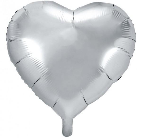 Heart foil balloon silver 61cm