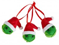3 Brussels sprouts Christmas hangers 7 x 4cm