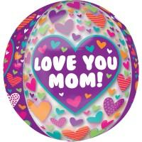1000 coeurs pour maman ballon aluminium 38 x 40cm