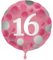 16. Geburtstag Glossy Pink Folienballon 45cm