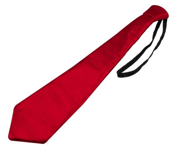 Metallic Krawatte mit Gummiband rot