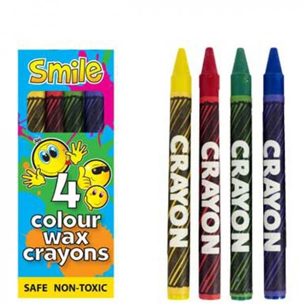 4 mini crayons de cire smiley