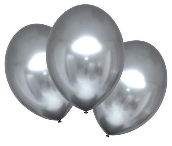 6 globos satinados brillantes plateados 27,5cm