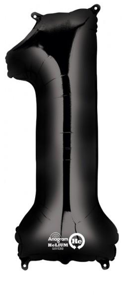 Balon foliowy z numerami 1 czarny 86cm