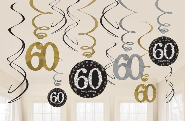 12 Golden 60th Birthday Spiralhänger 60cm