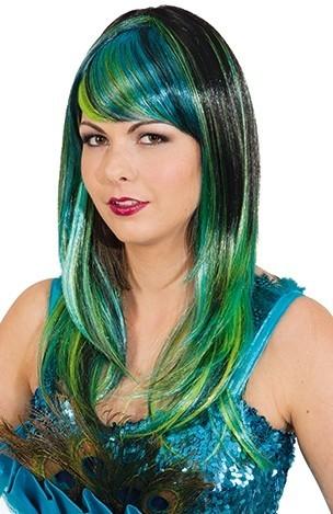 Parrucca nero-verde-turchese