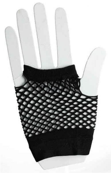 Krótkie rękawiczki z czarnej siateczki