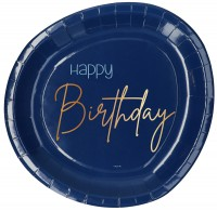 Happy Birthday 8 Pappteller Elegant blue